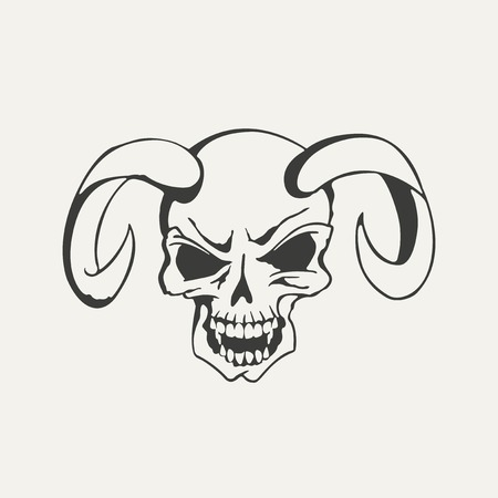 horns: illustration of horns with human skull. Black and white style