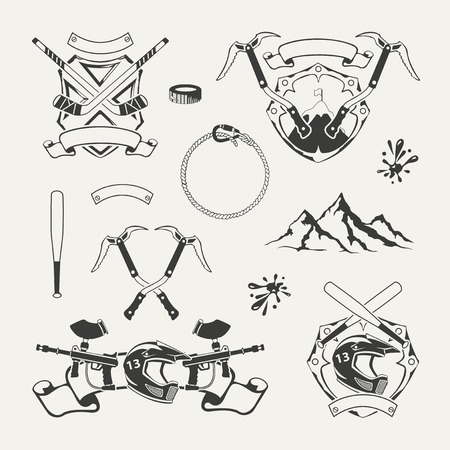 hockey goal: Set of extreme sports emblems, badges, labels and designed elements Illustration