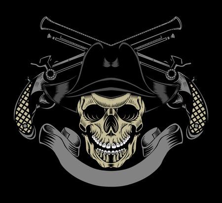 교차 총을 가진 적 두개골의 그림입니다.