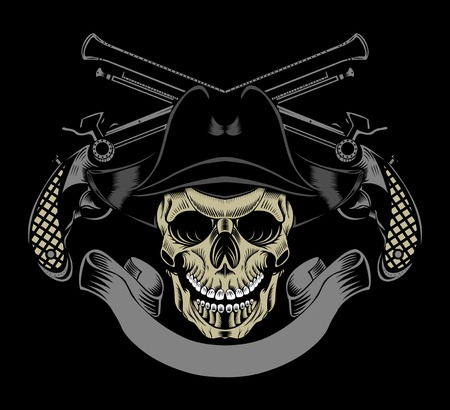 Illustration of pirate skull with crossed guns.