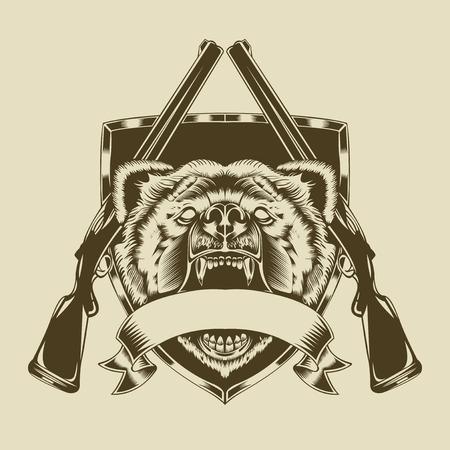 fusil de chasse: Illustration de la tête de l'ours en colère avec des armes.