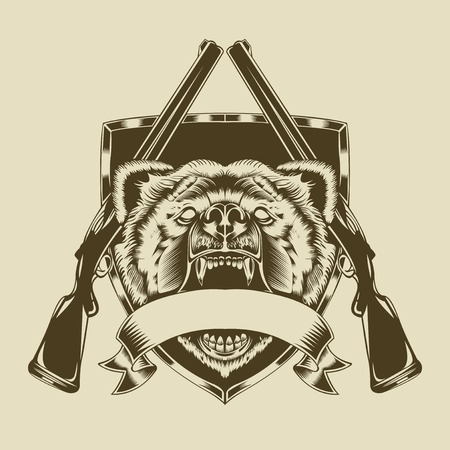 Illustration of angry bear head with weapons.