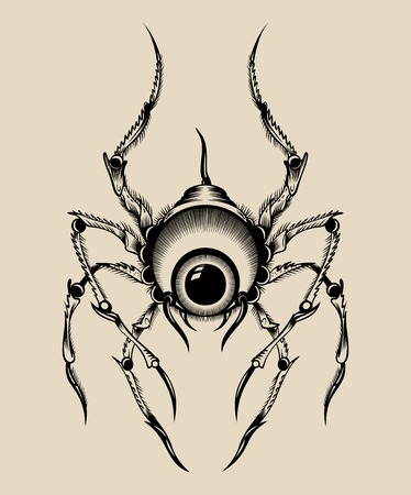 toxicity: Illustration of a monster. Spider with the eye.
