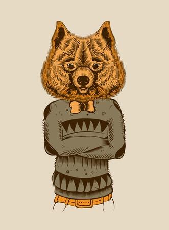 spitz: Illustration of a Hipster Dog. Spitz. Illustration