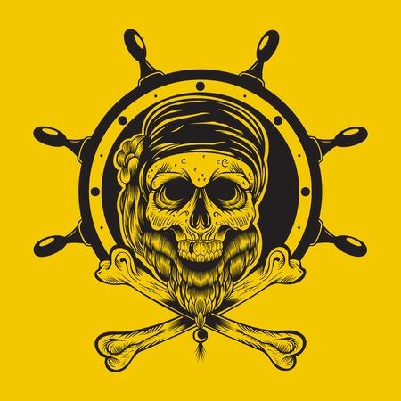 plunderer: Illustration of a pirate skull with steering wheel. Illustration