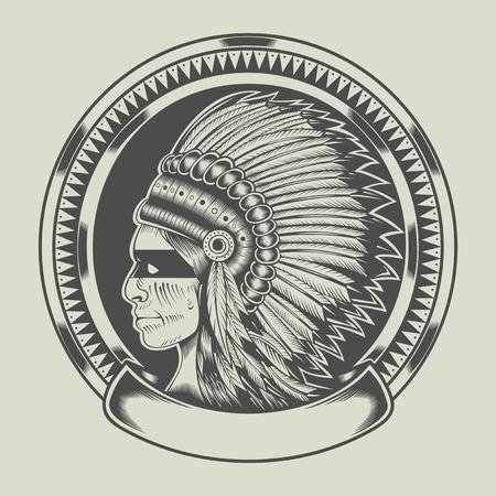 iroquois: Illustration of injun leader. Illustration
