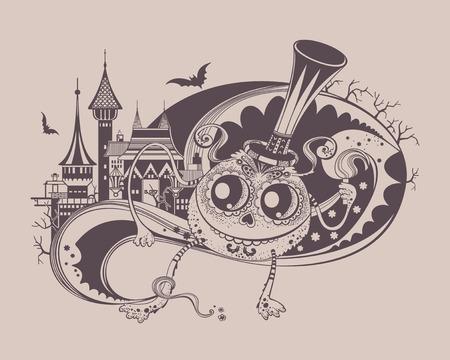 illustation: Illustation of funny halloween monster. Cute fantasy.