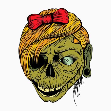 활 매듭이있는 소녀의 머리 좀비입니다.