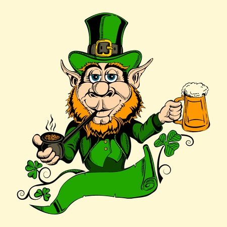 It is image of St. Patrick with a beer. Vector Illustration
