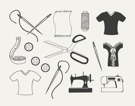 dressmaking: Set of dressmaking emblems, badges, labels and designed elements. Illustration