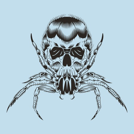toxicity: Illustration of a monster. Spider with skull. Illustration