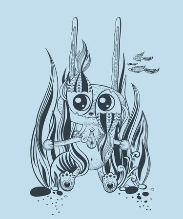 creature: It is a cute underwater creature. Fantasy.