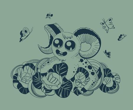 fantastic creature: It is a cute fantastic creature. Aries. Illustration