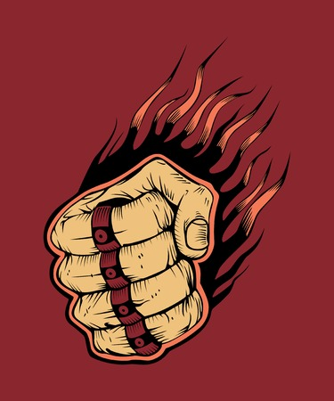 knuckle: It is hitter fist with brass knuckles. Illustration
