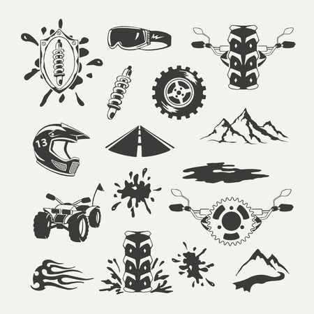 snow tires: Set of extreme sports emblems, badges, labels and designed elements Illustration