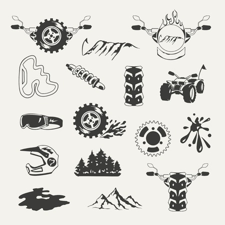 mud and snow: Set of extreme sports emblems, badges, labels and designed elements Illustration