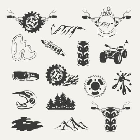 Set of extreme sports emblems, badges, labels and designed elements Illustration