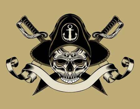Illustration of pirate skull with crossed sabers Иллюстрация