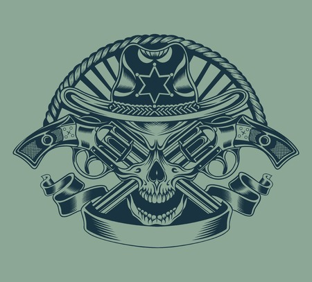 skull and bones: Illustration of Sheriffs skull with guns.