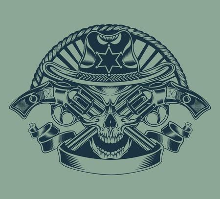 Illustration of Sheriffs skull with guns.