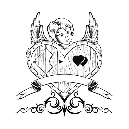 bowstring: Illustation of Valentines Day card with heart and Cupid. Black and white style. Illustration