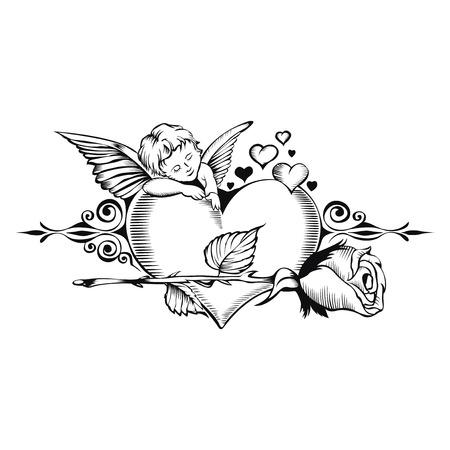 Valentijn kaart. Beeld van Cupido met hart en een roos. Stock Illustratie