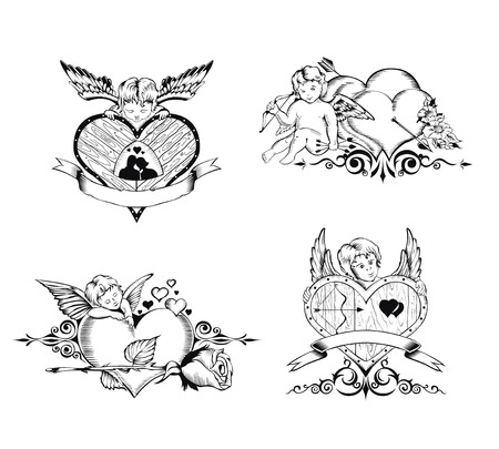 bowstring: Set of Valentines Day card. Images of Cupid, hearts and flowers.