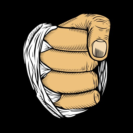 clenched: It is a bunch of fives. Fist with bandage.