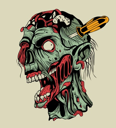 Illustration of zombie head with a screwdriver.