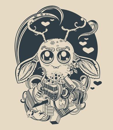 creature: Illustration of a cute little alien creature.