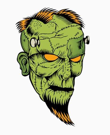 수염 머리 좀비 머리의 그림입니다. 일러스트