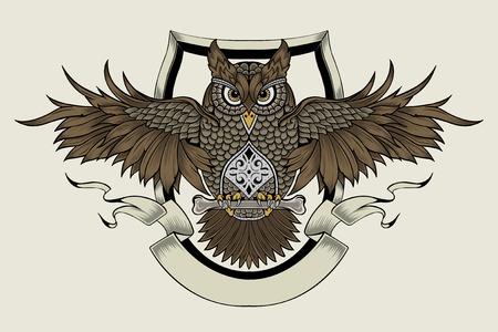 이 올빼미입니다. 지혜의 상징입니다. 일러스트