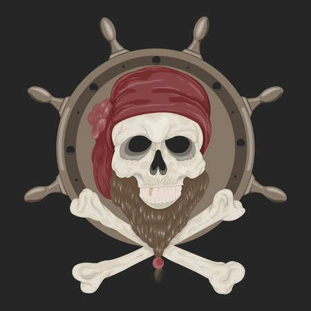 filibuster: Image Pirate Skull with a beard in bandana.