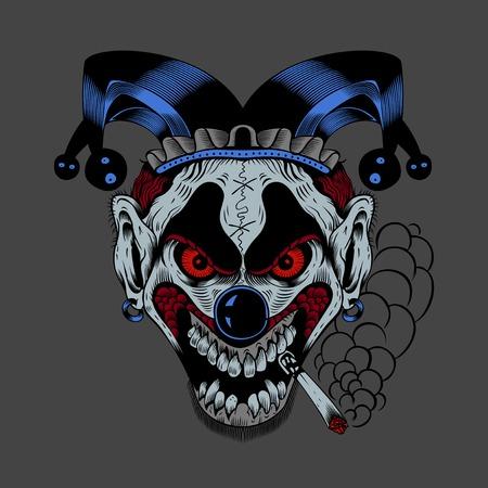 Illustartion of cartoon scary clown with cigarette. Vector