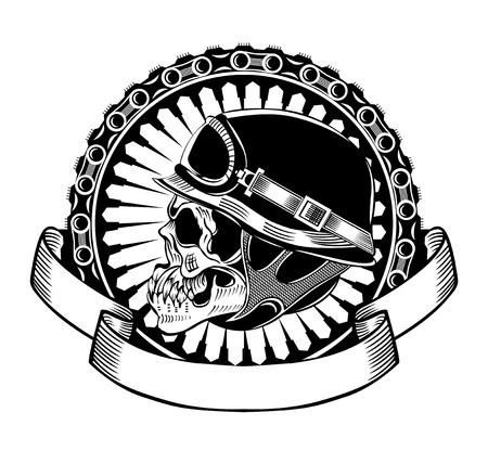 Illustrazione del cranio motociclisti con il casco. Vettoriali