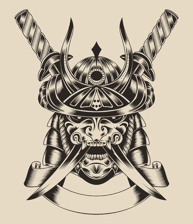 Illustration of mask samurai warrior with katana sword.