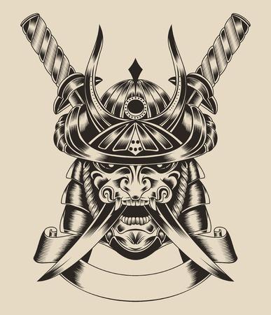 demon: Ilustraci�n de la m�scara de guerrero samurai con espada katana.