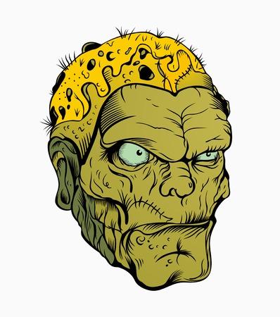 scar: Foto van enge zombie hoofd met een litteken.