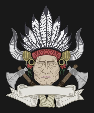native american man: Illustration of the Indian chief with a tomahawk.