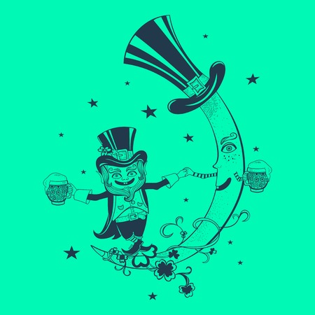 croissant de lune: Patrick et croissant de lune danse dans le ciel.