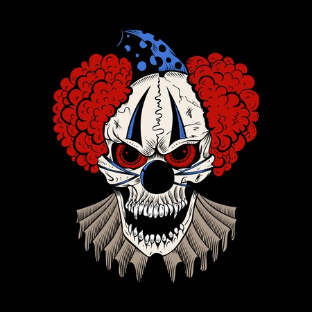 Illustartion of cartoon evil clown with hubcap.