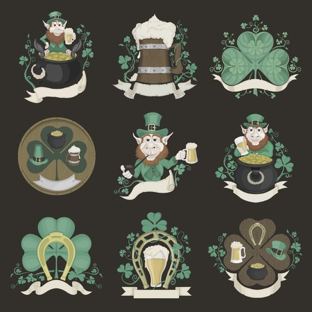 Set of pictures for St. Patricks Day. Colored. Vector
