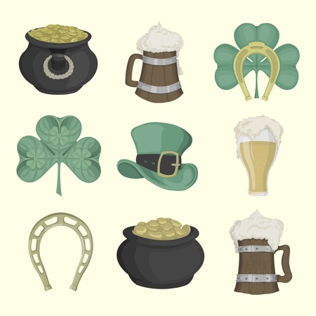 leprechaun hat: Set of illustrations for St. Patricks Day. Colored.