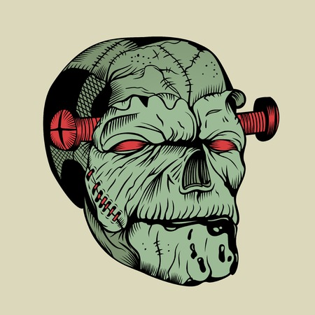 Illustration of zombie head with a dowel.