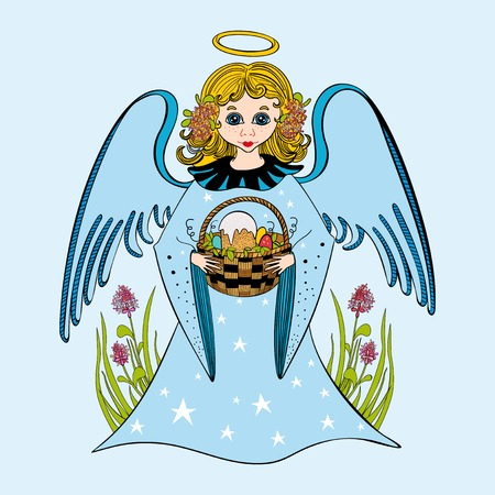 an easter cake: Cute little girl angel holding a wicker basket with Easter cake and colorful eggs. Illustration
