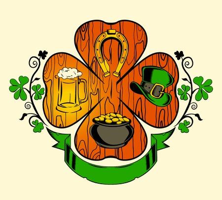 Illustration for St. Patriks day. Clover, hat, horseshoe, beer. Vector