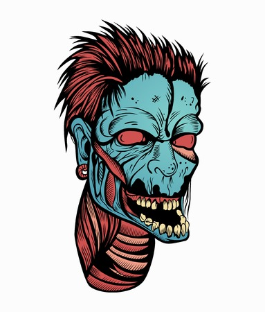 Illustration of zombie head with a hairstyle.