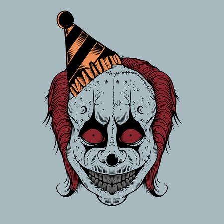 Illustartion of cartoon scary clown with hubcap. Illustration