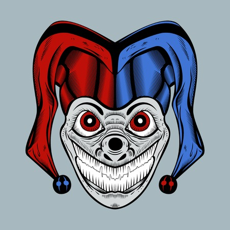 red eyes: Illustration of evil clown with red eyes in colored cap. Illustration