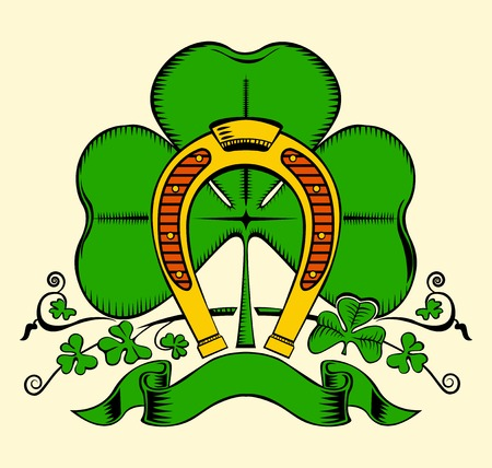 Illustration of gold horseshoe and clover for St. Patriks day. Vector